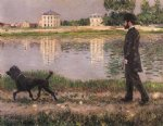 dog watercolor paintings - richard gallo and his dog at petit gennevilliers by gustave caillebotte