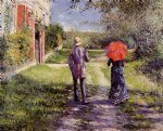 gustave caillebotte watercolor paintings - rising road by gustave caillebotte