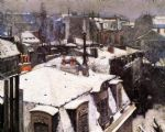 gustave caillebotte acrylic paintings - rooftops under snow by gustave caillebotte