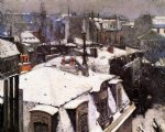 gustave caillebotte watercolor paintings - rooftops under snow by gustave caillebotte