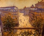 gustave caillebotte watercolor paintings - rue halevy balcony view by gustave caillebotte