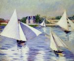 gustave caillebotte sailboats on the seine at argenteuil painting