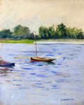 gustave caillebotte watercolor paintings - sailing boats on the seine at argenteuil by gustave caillebotte