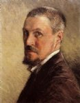 gustave caillebotte self portrait with brown background painting-32961