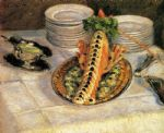 still life famous paintings - still life with crayfish by gustave caillebotte