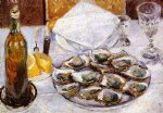 gustave caillebotte watercolor paintings - still life with oysters by gustave caillebotte