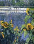 gustave caillebotte sunflowers on the banks of the seine prints