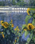 gustave caillebotte watercolor paintings - sunflowers on the banks of the seine by gustave caillebotte