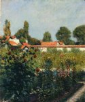pet art - the garden of petit gennevillers the pink roofs by gustave caillebotte