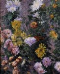 pet art - white and yellow chrysanthemums garden at petit gennevilliers by gustave caillebotte