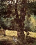 sea watercolor paintings - woman seated under a tree by gustave caillebotte