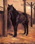 gustave caillebotte yerres dark bay horse in the stable painting 33019