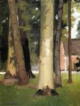 farm original paintings - yerres through the grove the ornamental farm by gustave caillebotte
