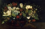 gustave courbet basket of flowers painting 32856