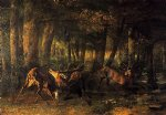 gustave courbet art - battle of the stags by gustave courbet