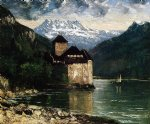 gustave courbet art - chateau du chillon ii by gustave courbet