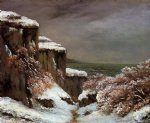 gustave courbet art - cliffs by the sea in the snow by gustave courbet