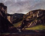 cliffs near ornans by gustave courbet painting