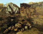 gustave courbet art - crumbling rocks by gustave courbet