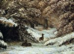 gustave courbet art - deer taking shelter in winter by gustave courbet