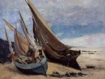 gustave courbet fishing boats on the deauville beach art