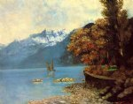lake leman by gustave courbet painting