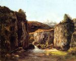 gustave courbet artwork - landscape the source among the rocks of the doubs by gustave courbet