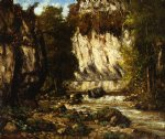 gustave courbet watercolor paintings - river and cliff by gustave courbet