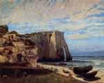 gustave courbet watercolor paintings - the cliff at etretat after the storm by gustave courbet