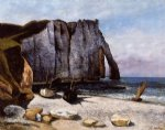 gustave courbet watercolor paintings - the cliff at etretat the porte d avale by gustave courbet