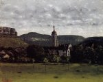 view of ornans and its church steeple by gustave courbet painting