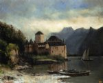 view of the chateau de chillon by gustave courbet painting