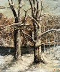 woods in the snow by gustave courbet painting