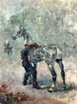 sad acrylic paintings - artilleryman saddling his horse by henri de toulouse lautrec