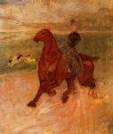 dog watercolor paintings - horsewoman and dog by henri de toulouse lautrec