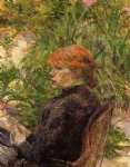 forest art - red haired woman seated in the garden of m. forest by henri de toulouse lautrec