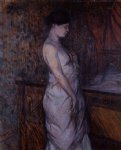 henri de toulouse lautrec woman in a chemise standing by a bed painting