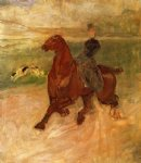 henri de toulouse lautrec woman rider and dog painting-32699