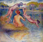 henri edmond cross art - bathers ii by henri edmond cross