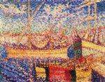henri edmond cross art - boats in the port of st. tropez by henri edmond cross