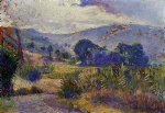 henri edmond cross art - cabasson landscape study by henri edmond cross
