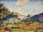 henri edmond cross les petits montagnes mauresques painting
