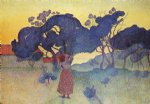 farm original paintings - the farm evening by henri edmond cross