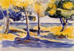 henri edmond cross trees by the sea painting 32455