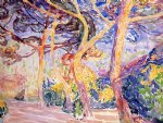 under the pines by henri edmond cross painting