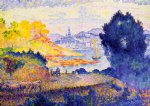 view of menton by henri edmond cross painting