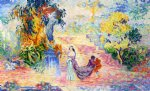 woman in a park by henri edmond cross painting