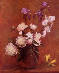 henri fantin latour art - bouquet of peonies and iris by henri fantin latour