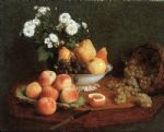 henri fantin latour flowers & fruit on a table 1865 painting 78916