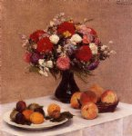 flowers and fruit by henri fantin latour painting